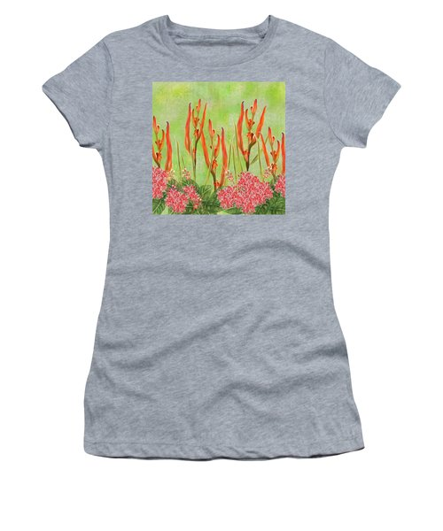 Tropical Floral Print Lime Green Batik Women's T-Shirt