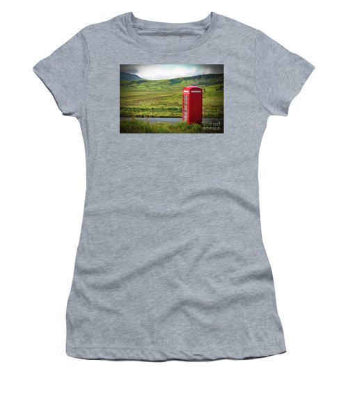 Typical Red English Telephone Box In A Rural Area Near A Road. Women's T-Shirt