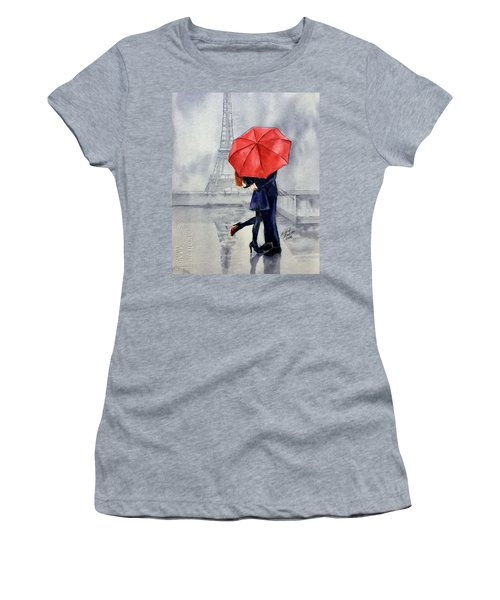 Women's T-Shirt featuring the painting Under A Red Umbrella by Michal Madison