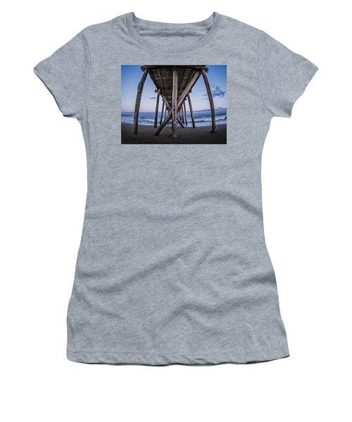 Women's T-Shirt featuring the photograph Under The Pier by Steve Stanger