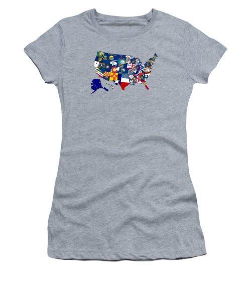 Usa States Flags Map Women's T-Shirt