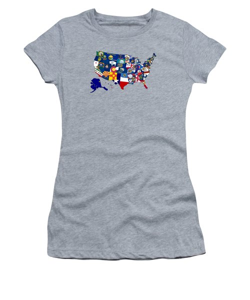 Usa States Flags Map Women's T-Shirt