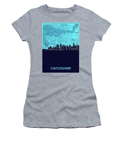 Vancouver Skyline Map Turquoise Women's T-Shirt