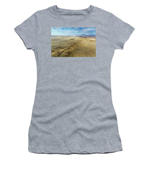 Women's T-Shirt (Athletic Fit) featuring the photograph Village Toward Amu Darya River by SR Green