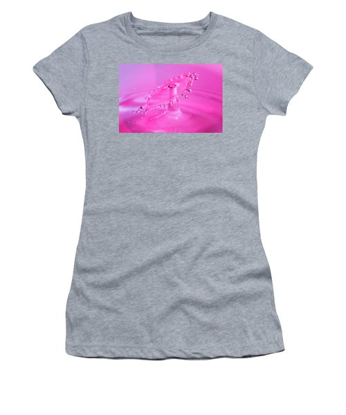 Women's T-Shirt (Athletic Fit) featuring the photograph Vivid Pink Water Drop Collision by SR Green