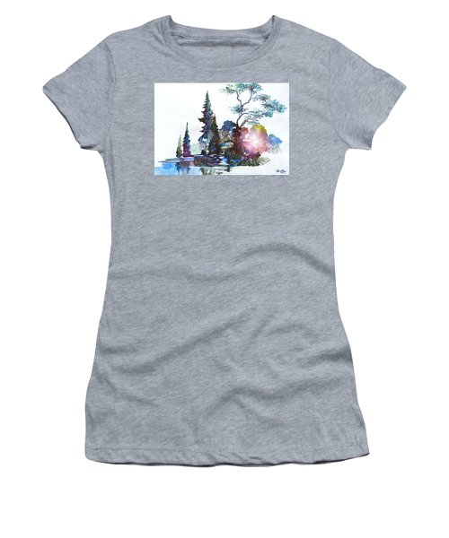 Watercolor Forest And Pond Women's T-Shirt