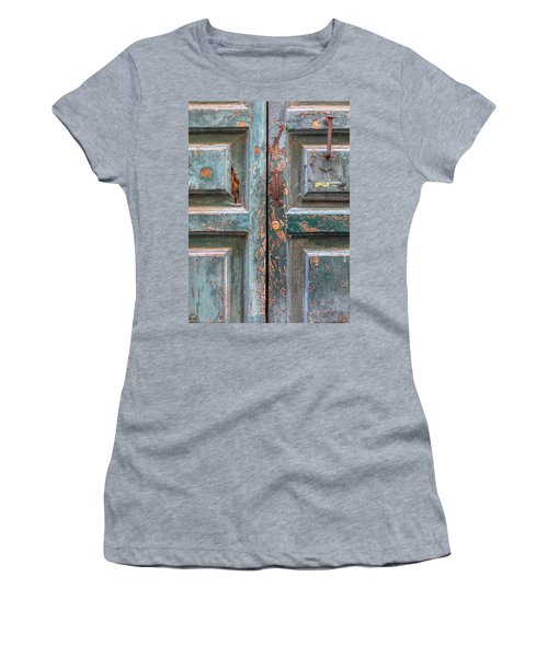 Weathered Rustic Green Door Of Cortona Women's T-Shirt