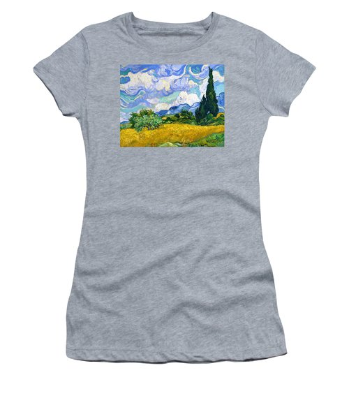 Wheat Field With Cypresses - Digital Remastered Edition Women's T-Shirt