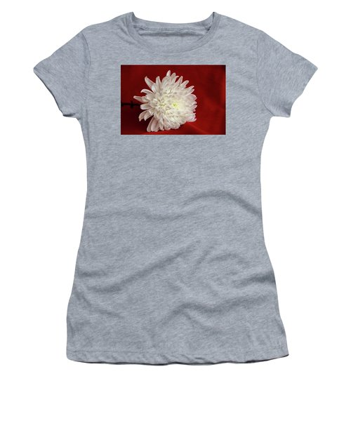 White Flower On Red-1 Women's T-Shirt