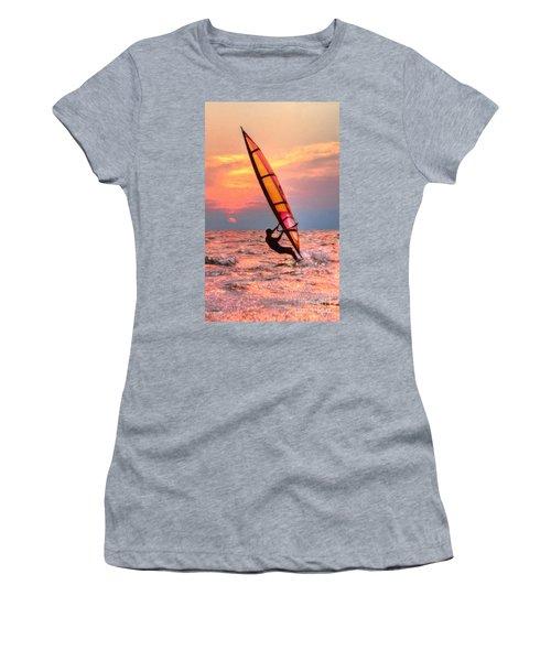 Windsurfing At Sunrise Women's T-Shirt