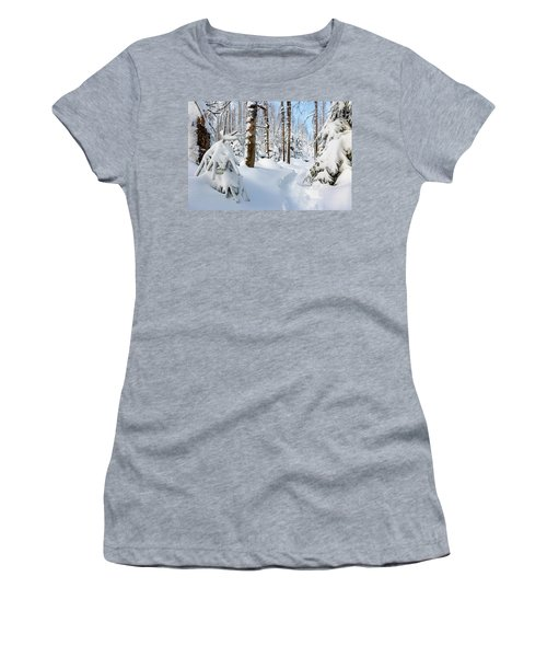 Women's T-Shirt featuring the photograph winter path, Harz by Andreas Levi