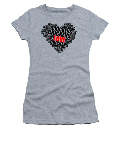 Wordcloud Love Chickens Black Women's T-Shirt