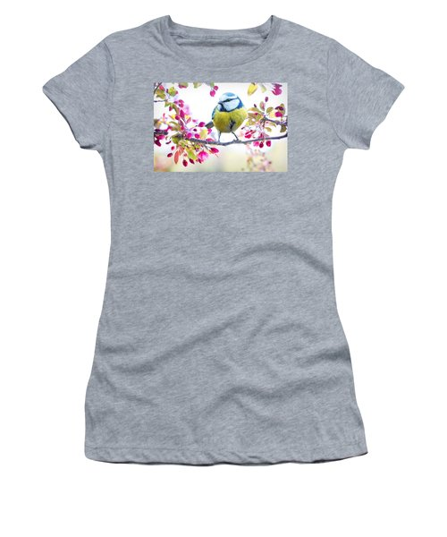 Yellow Blue Bird With Flowers Women's T-Shirt (Athletic Fit)