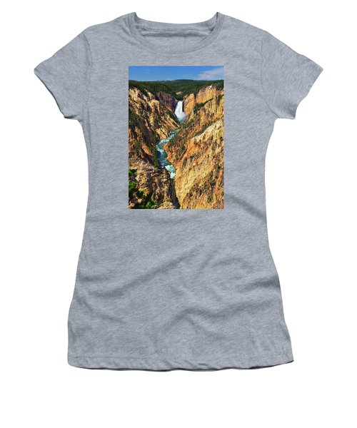 Women's T-Shirt featuring the photograph Yellowstone Grand Canyon From Artist Point by Greg Norrell