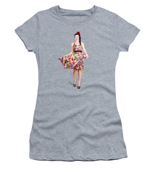 Young Beautiful Dancer Posing On Tan Background Women's T-Shirt