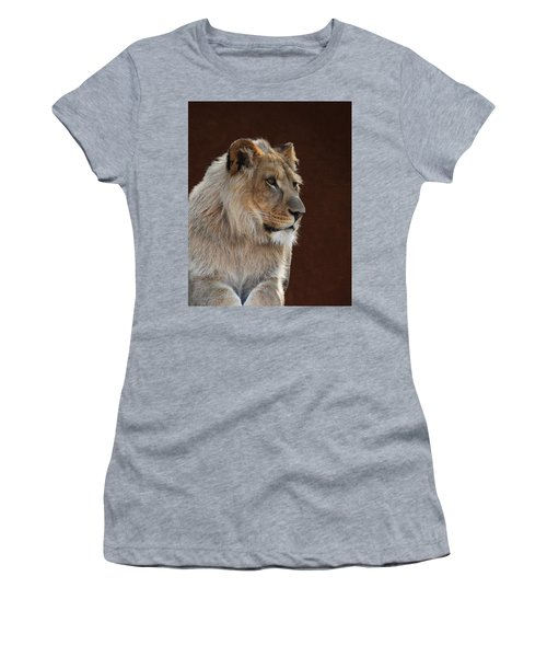 Women's T-Shirt featuring the photograph Young Male Lion Portrait by Debi Dalio