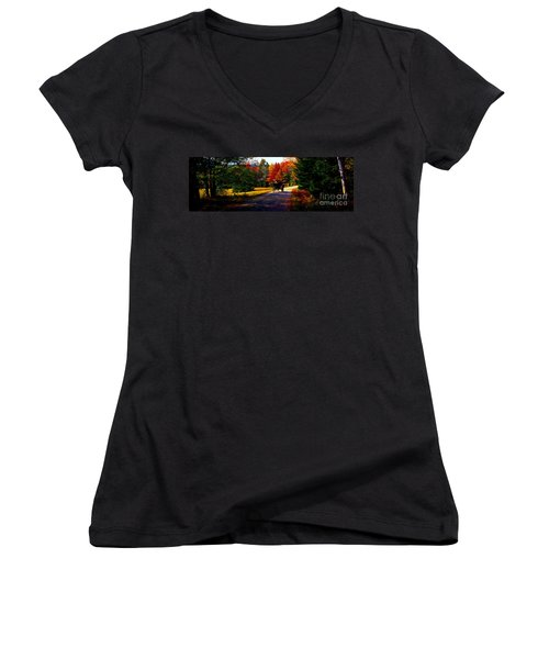 Women's V-Neck T-Shirt (Junior Cut) featuring the photograph  Acadia National Park Carriage Trail Fall  by Tom Jelen