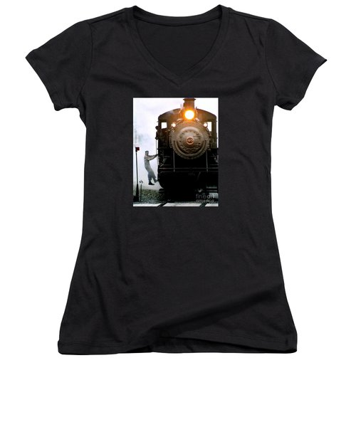 All Aboard The Number 40 At New Hope Pennsylvania Train Terminal Women's V-Neck T-Shirt (Junior Cut) by Michael Hoard