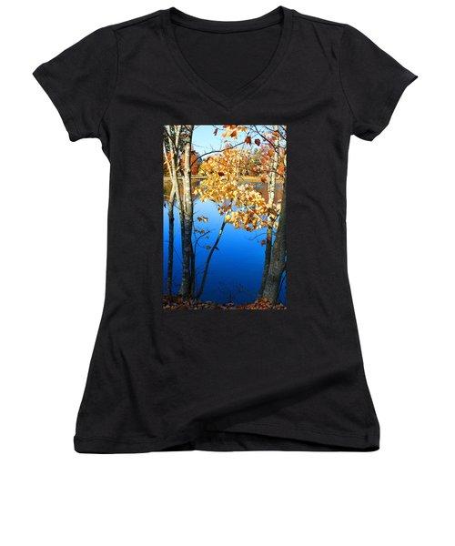 Autumn Trees On The Lake Women's V-Neck T-Shirt