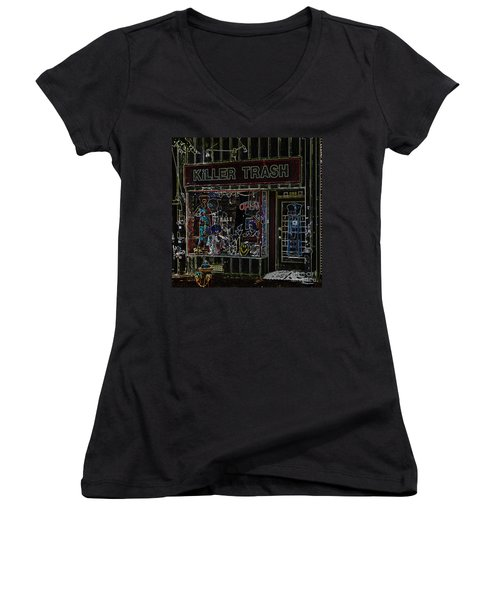 Baltimore Storefront Impression Women's V-Neck T-Shirt (Junior Cut) by Phil Cardamone