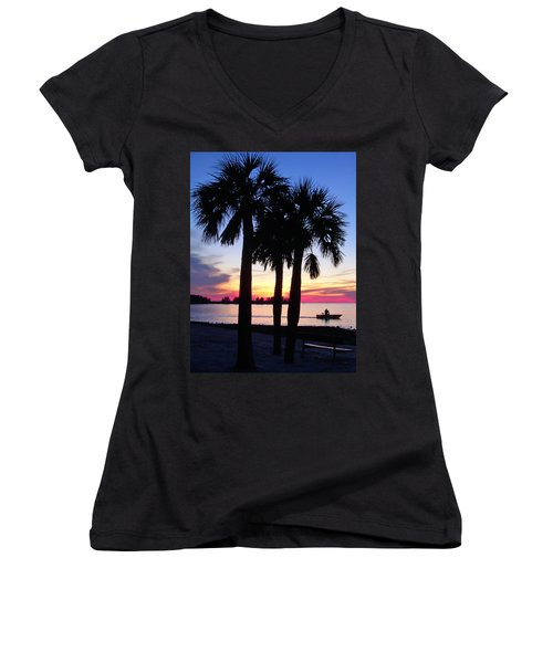 Women's V-Neck T-Shirt (Junior Cut) featuring the photograph  Beach Sunset by Aimee L Maher Photography and Art Visit ALMGallerydotcom