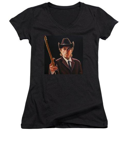 Bob Dylan 2 Women's V-Neck (Athletic Fit)