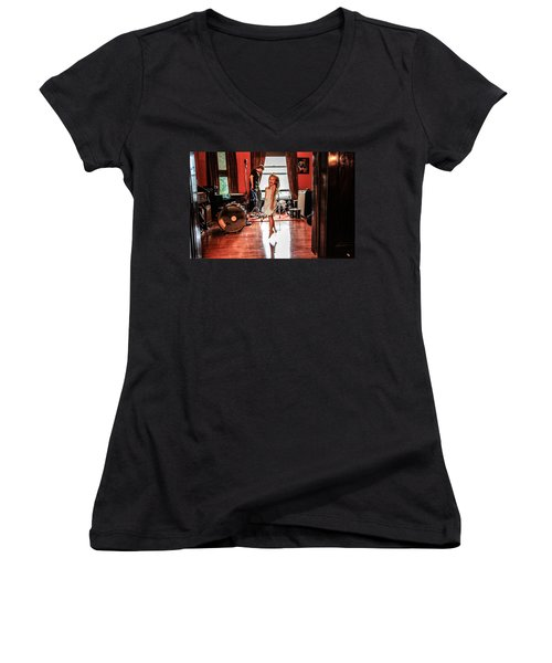 Women's V-Neck T-Shirt (Junior Cut) featuring the photograph  Brooklyn Dancing by Ray Congrove