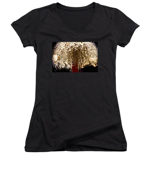 Women's V-Neck T-Shirt (Junior Cut) featuring the photograph  Dandelion Dew In Bronze by Peggy Collins