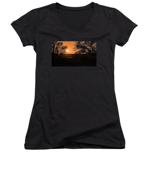 Hayfield At Night Women's V-Neck T-Shirt