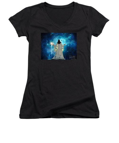 Heavens Door Women's V-Neck T-Shirt (Junior Cut) by Dolores Develde