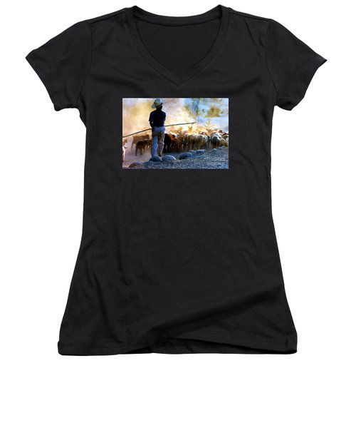 Women's V-Neck T-Shirt (Junior Cut) featuring the photograph  Herder Going Home In Mexico by Phyllis Kaltenbach
