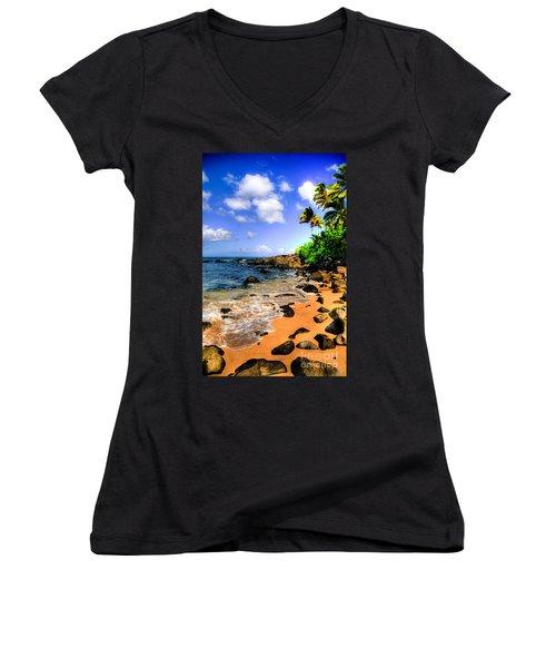 Laniakea Beach Women's V-Neck T-Shirt (Junior Cut) by Kelly Wade