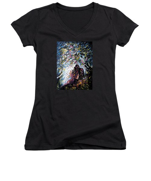 Women's V-Neck T-Shirt (Junior Cut) featuring the painting  Love In Niagara Fall by Harsh Malik