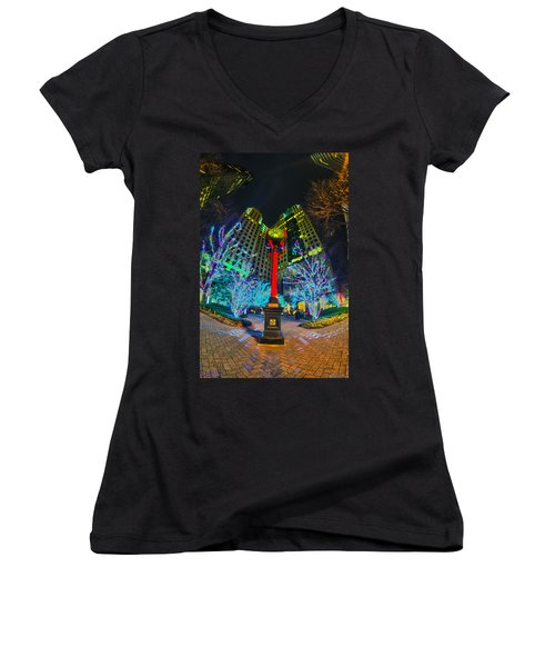Nightlife Around Charlotte During Christmas Women's V-Neck T-Shirt