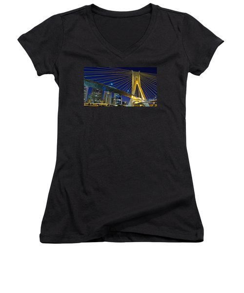 Sao Paulo's Iconic Cable-stayed Bridge  Women's V-Neck (Athletic Fit)