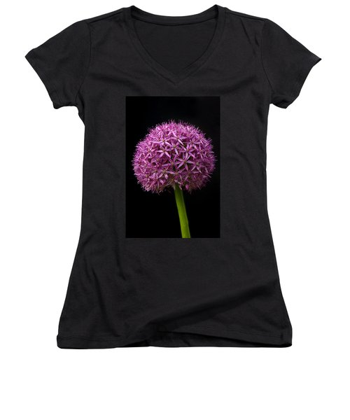 Single Purple Allium Women's V-Neck (Athletic Fit)