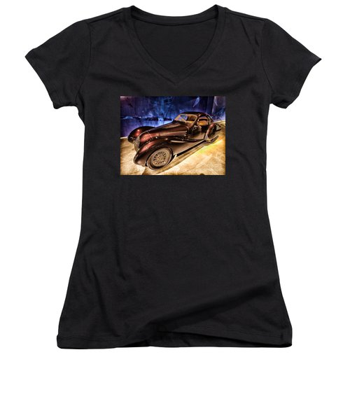 Women's V-Neck T-Shirt (Junior Cut) featuring the photograph  Talbot Lago 1937 Car Automobile Hdr Vehicle  by Paul Fearn