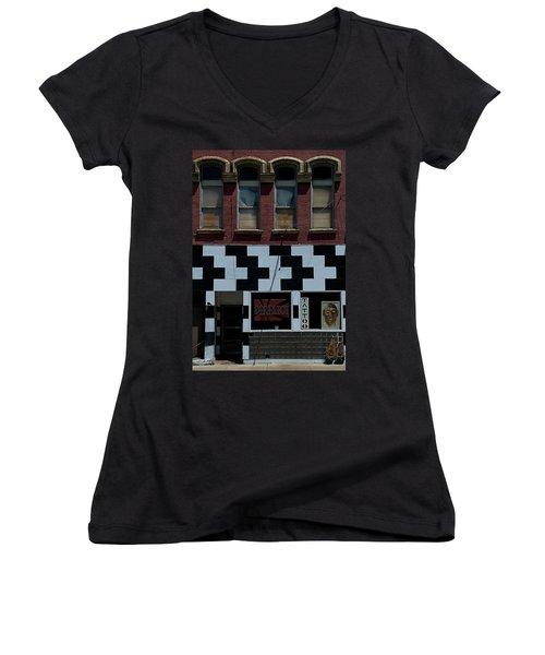 Tattoo Parlor Elmira Women's V-Neck T-Shirt (Junior Cut)