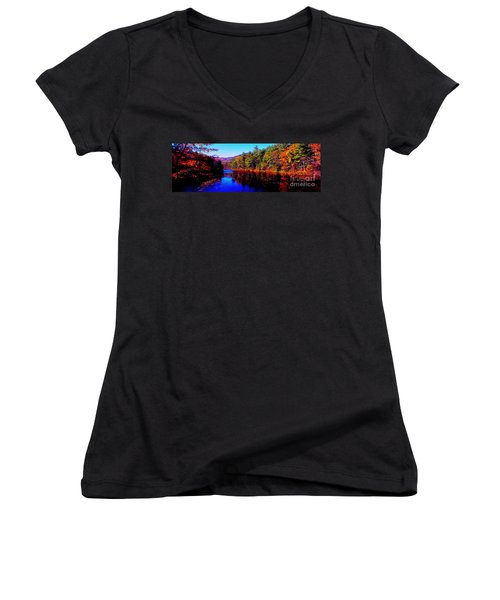 White Mountians National Park Red Eagle Pond New Hampshire Women's V-Neck (Athletic Fit)