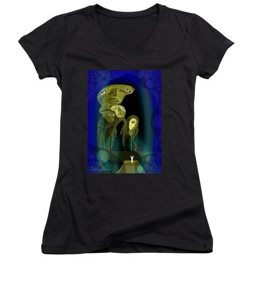 028 -  The  Arrival Of The Gods  Women's V-Neck T-Shirt