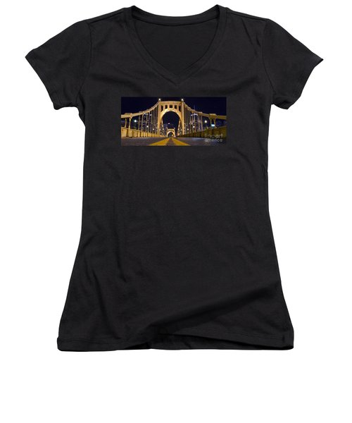 0304 Roberto Clemente Bridge Pittsburgh Women's V-Neck T-Shirt (Junior Cut) by Steve Sturgill