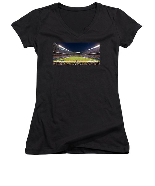 0587 Soldier Field Chicago Women's V-Neck T-Shirt (Junior Cut) by Steve Sturgill