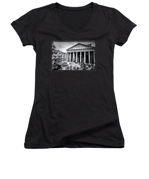 0786 The Pantheon Black And White Women's V-Neck