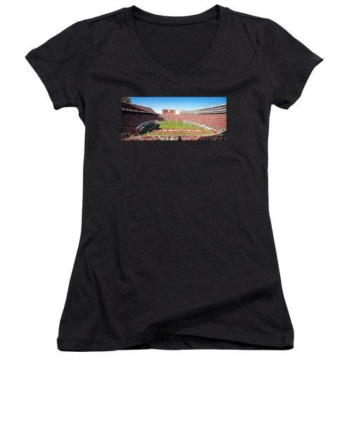 0812 Camp Randall Stadium Panorama Women's V-Neck
