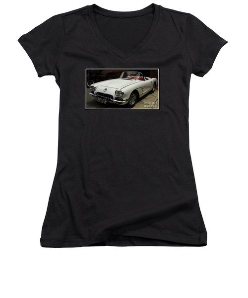 1958 Chevrolet Corvette Women's V-Neck T-Shirt (Junior Cut) by James C Thomas