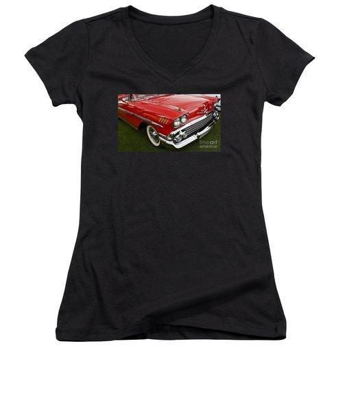 1958 Chevy Impala Women's V-Neck T-Shirt (Junior Cut) by Linda Bianic
