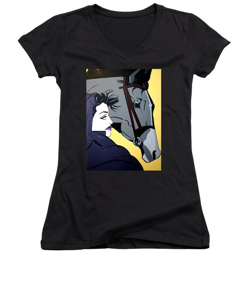 Women's V-Neck T-Shirt (Junior Cut) featuring the painting 2 Beauties by Nora Shepley