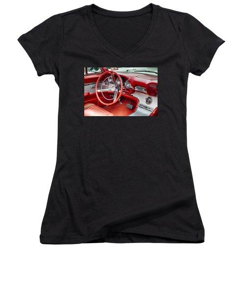 62 Thunderbird Interior Women's V-Neck T-Shirt (Junior Cut) by Jerry Fornarotto