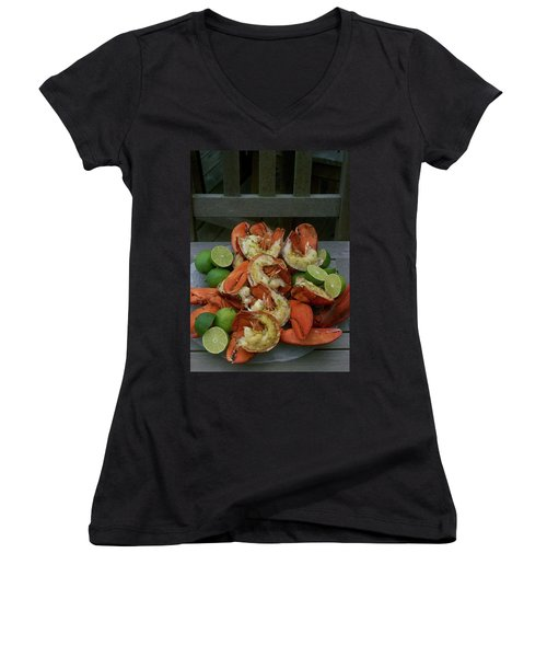 A Meal With Lobster And Limes Women's V-Neck