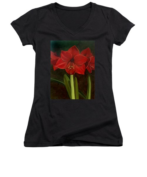 Women's V-Neck T-Shirt (Junior Cut) featuring the painting Amaryllis by Nancy Griswold